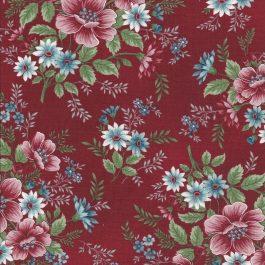 Donker rode stof met grote bloementakken-Henry Glass