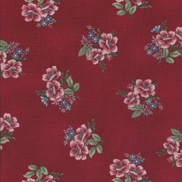 Donker rode stof met bloementakken-Henry Glass