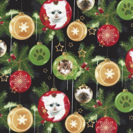 Zwarte stof met afbeeldingen van poesjes in kerstballen-Henry Glass
