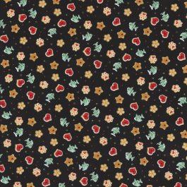 Zwarte stof met Kerst kattensnoepjes-Henry Glass