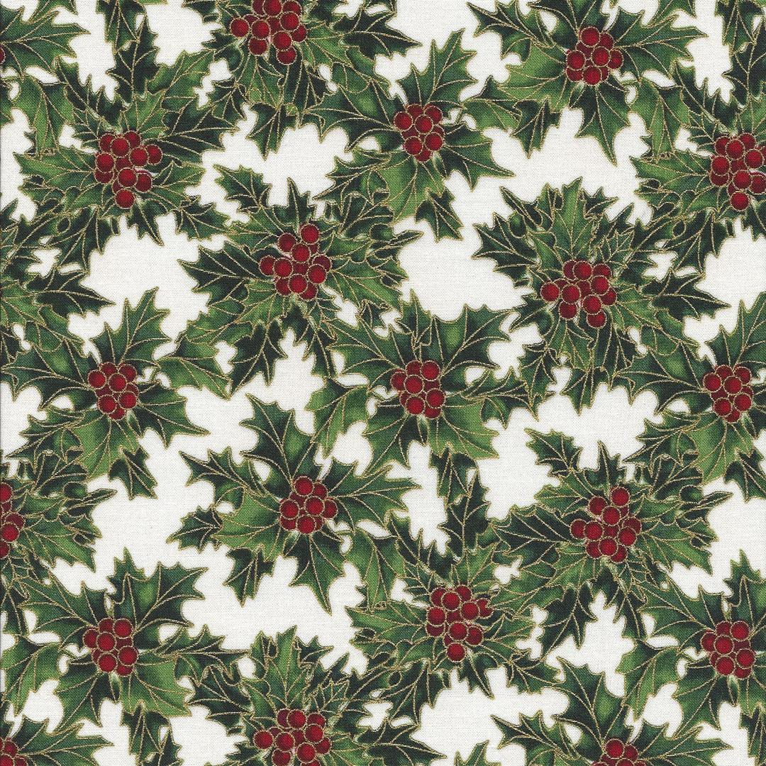 Ivoor kleurige stof met Hulst groen/rood/goud