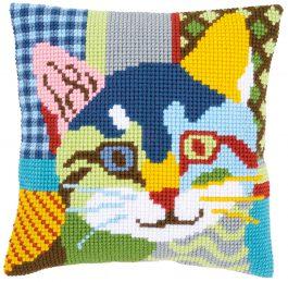 Kruissteekkussen met kleurrijke kat