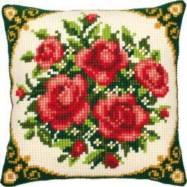 Kruissteekkussen vintage met rozen