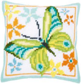 Kruissteekkussen met vlinder