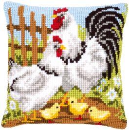 Kruissteekkussen met kippen