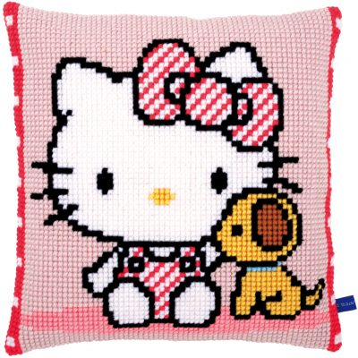 Kruissteekkussen Hello Kitty met hondje