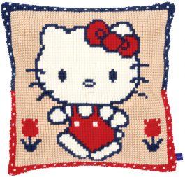Kruissteekkussen Hello Kitty aan de wandel