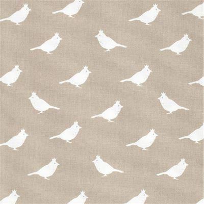 Lilian Z Canvasstof taupe met witte vogeltjes
