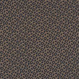 Bruin-oker kleurige stof met zwarte print