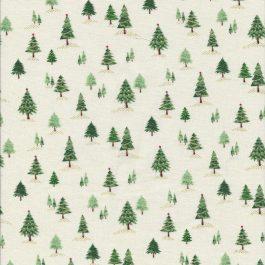 Roomwitte stof met groene kerstboompjes-Makower