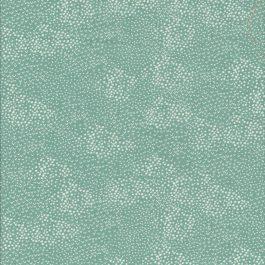 Teal kleurige stof met witte stippen-Makower