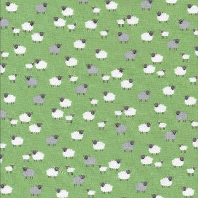 Licht groene stof met schaapjes-Makower