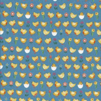 Blauwe stof met gele kuikentjes-Makower