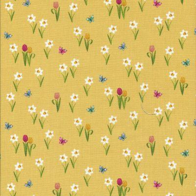 Gele stof met tulpen en narcissen en vlindertjes-Makower