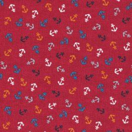 |Rode stof met gekleurde ankertjes-Makower