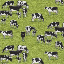Gras groene stof met koeien in de wei-Makower