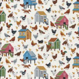 Roomwitte stof Met kippen en kippenhokken-Makower