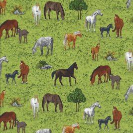 Gras groene stof met paarden in de wei-Makower