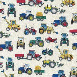 Roomwitte stof met tractoren-Makower