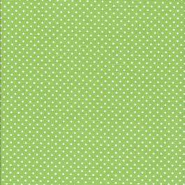 Lime Groene stof met witte stippen-Makower Spot On