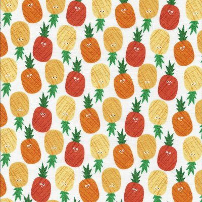 Witte stof met oranje en gele ananas gezichtjes