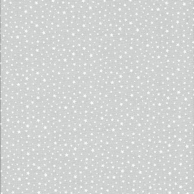 Pastel grijze stof met witte sterretjes