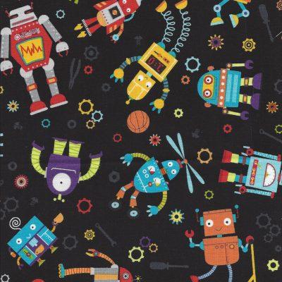 Zwarte stof met gekleurde robot afbeeldingen - Northcott