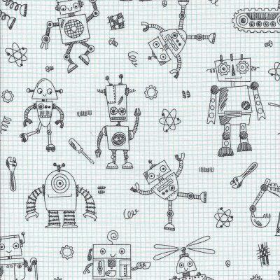 Witte ruit stof met robot afbeeldingen uit de serie Rollicking Robots-firma Northcott