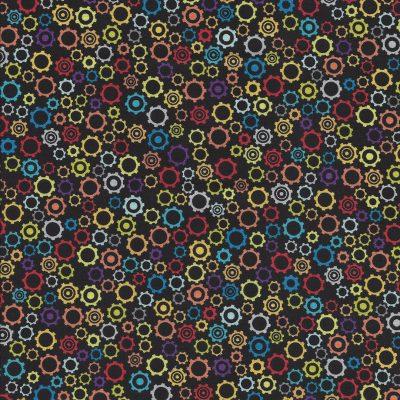 Zwarte stof met gekleurde tandwielen uit de serie Rollicking Robots-Northcott