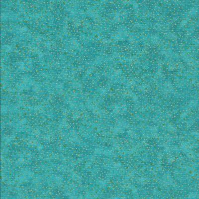 Aqua blauwestof met gouden stippen