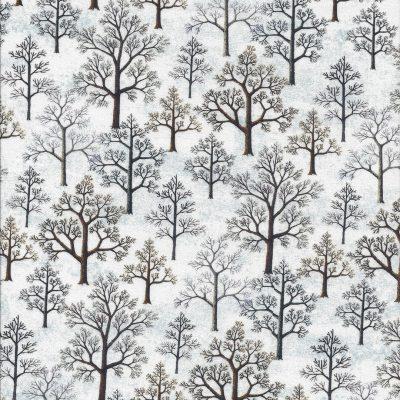 Wit en lichtblauwe stof met bruine bomen