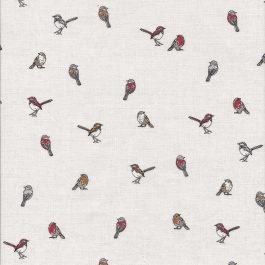 Roomwitte stof met vogeltjes-Northcott