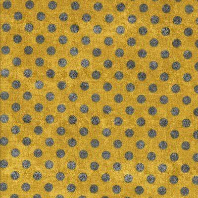 Oker gele canvas look stof met grijze stippen