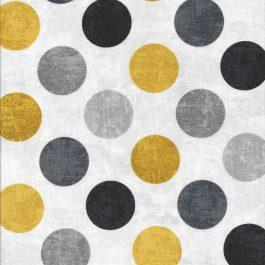 Ivoor witte canvas look stof met grijze en gele stippen