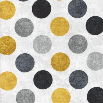 Roomwitte canvas look stof met grijze en gele stippen