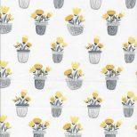 Witte stof met grijze potten en gele bloemen stof-Northcott Sew Sweet