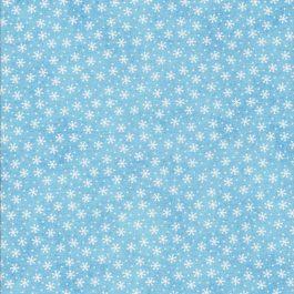 Licht blauwe stof met witte sneeuw sterretjes