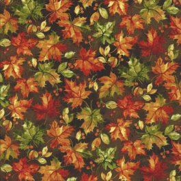 Bruine stof met herfstkleurige blaadjes