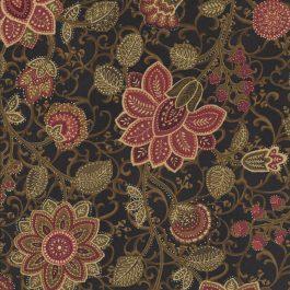 Zwarte stof met donker-rode bloemen-Northcott