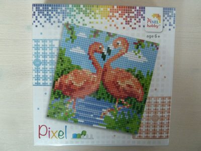Pixel setje Flamingo's