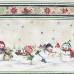 Randstof ecru met sneeuwpoppen