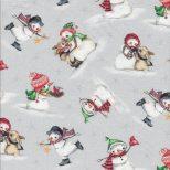 Licht grijze quiltstof met sneeuwpoppen