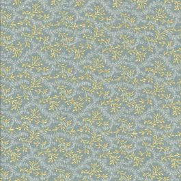 Blauwgroene stof met oker kleurige takjes
