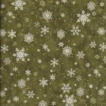 Olijf groene quiltstof sneeuw kristallen