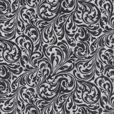 Witte stof met zwarte Paisleymotief-Quilting Treasures