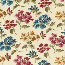 Roomwitte stof met kleurige bloemen-Quilting Treasures