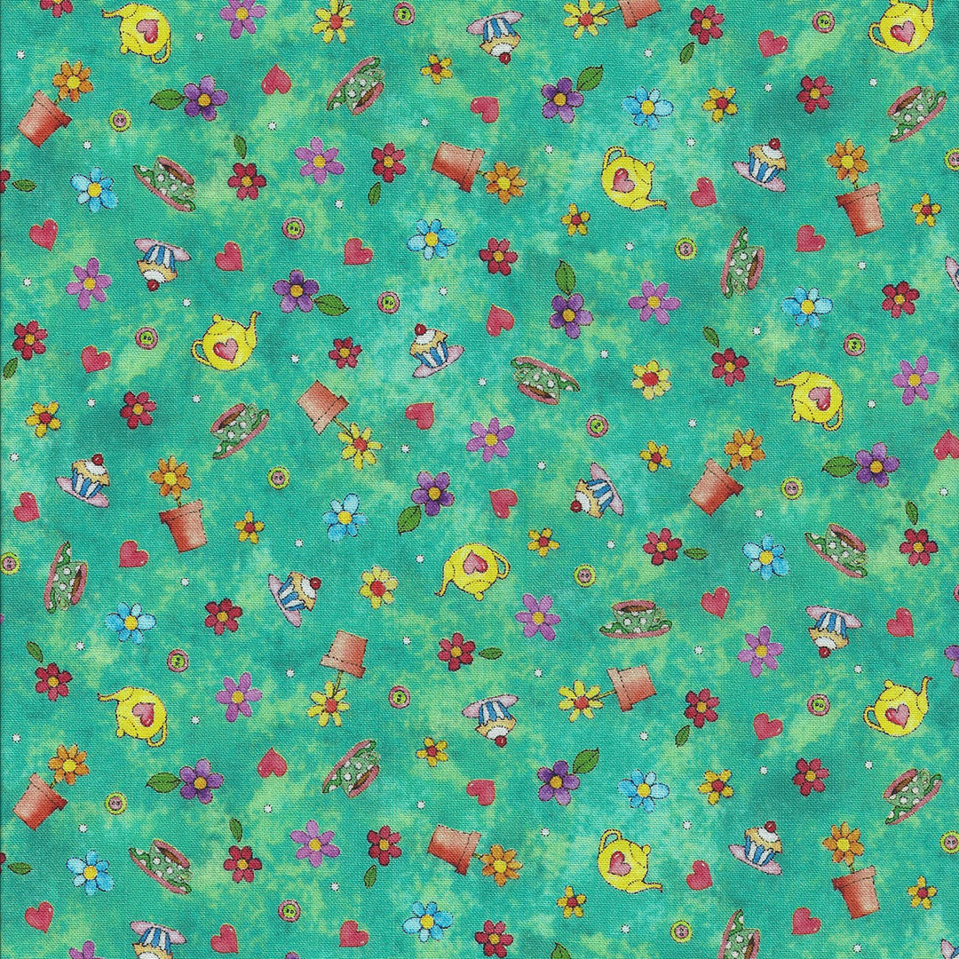 Groen gemarmerde stof met potjes,taartjes,hartjes en bloemetjes
