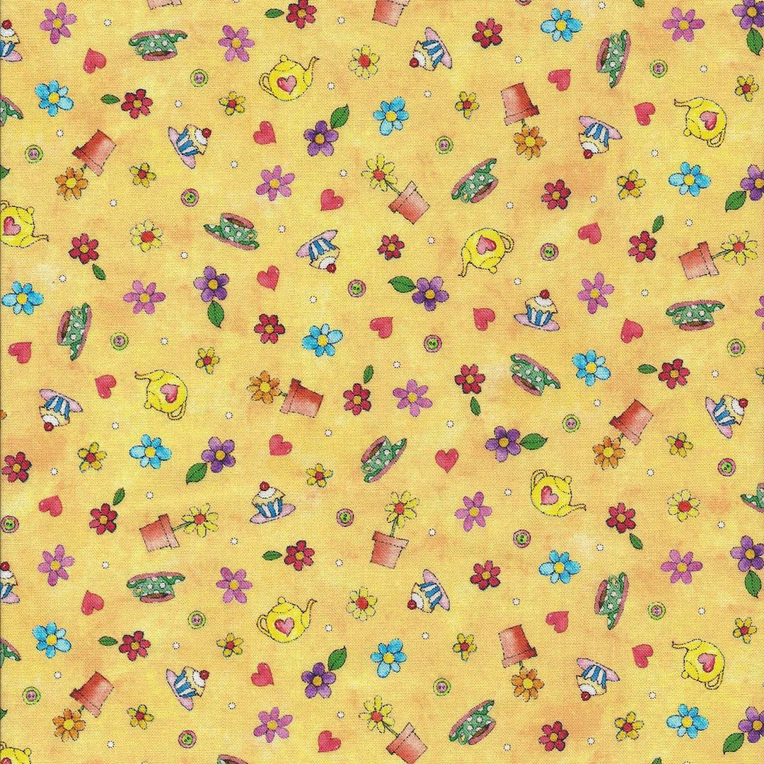 Geel gemarmerde stof met potjes,taartjes,hartjes en bloemetjes