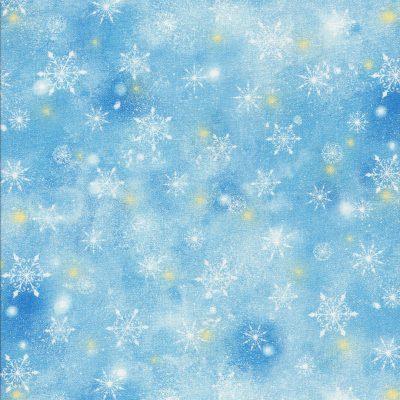 Licht blauwe luchtstof met sneeuwvlokken en sterren