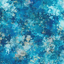 Stof met diverse aqua blauwe verfspetters-Quilting Treasures